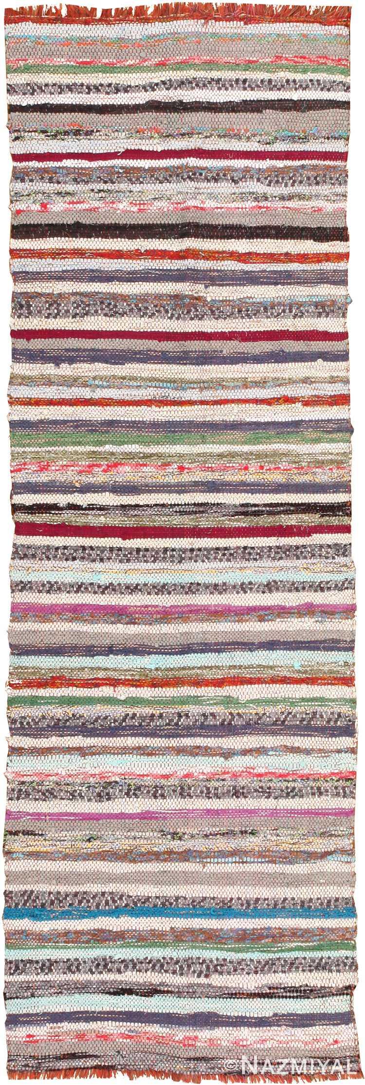 Small Long And Narrow Vintage Swedish Rag Rug #46658 by Nazmiyal Antique Rugs