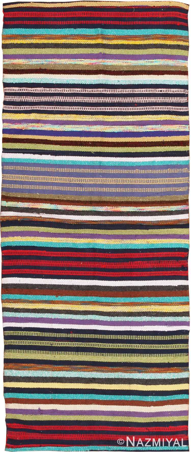 Vintage Swedish Rag Runner Rug 46662 Nazmiyal Antique Rugs
