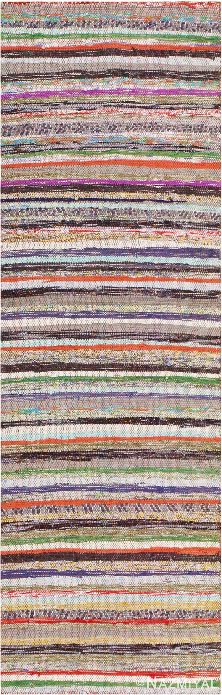 Small Colorful Striped Vintage Swedish Rag Rug #46670 by Nazmiyal Antique Rugs