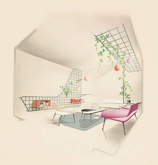 Illustration of a living room by Jean Royère Photo: Architectural Digest