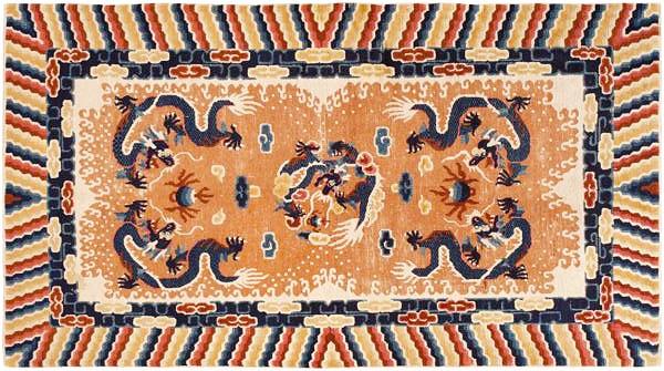 Dragon Design Antique Chinese Rug 46588 by Nazmiyal