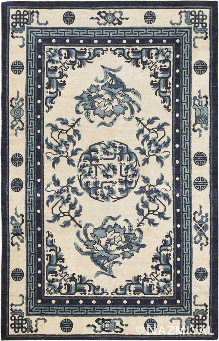 Small Floral Cream And Blue Antique Chinese Rug 46742 by Nazmiyal Antique Rugs