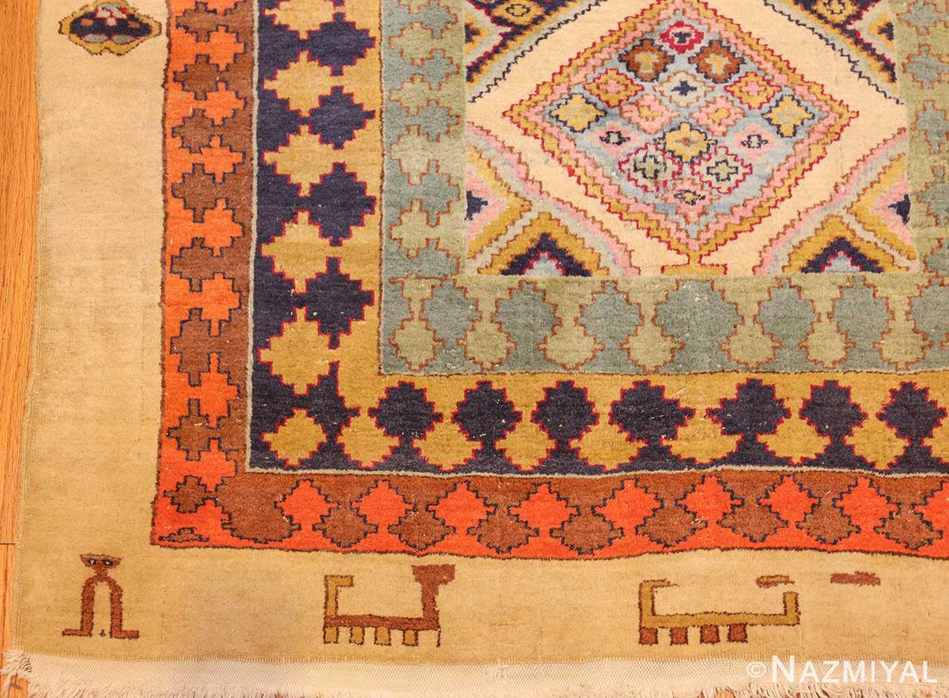 antique indian agra rug 46868 corner Nazmiyal