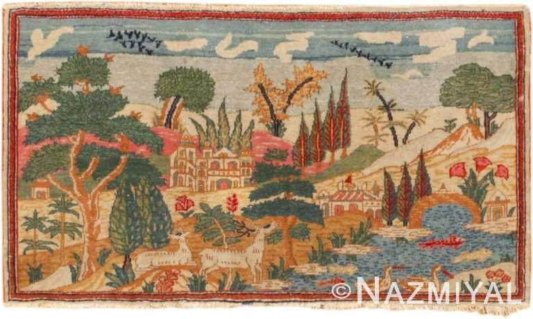 Small Antique Persian Pictorial Kashan Animal Rug #46406 by Nazmiyal Antique Rugs