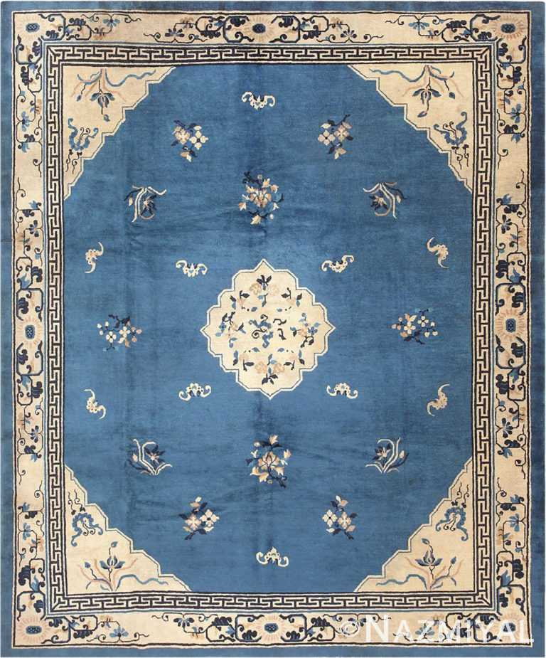 Blue and White Antique Chinese Rug #46820 by Nazmiyal Antique Rugs