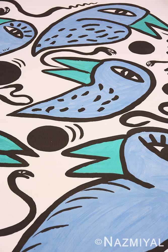 Detail Vintage Swedish tapestry rug 46828 by Nazmiyal