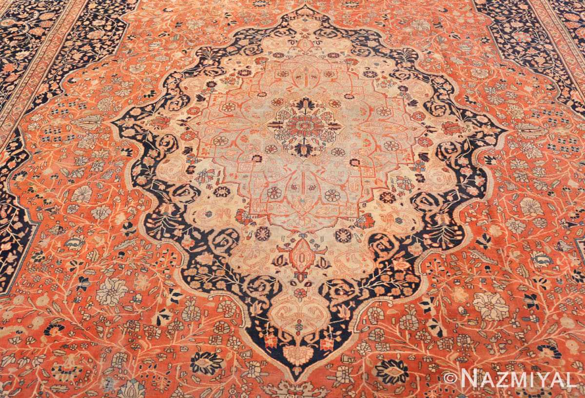 Field Antique Persian Mohtashem Kashan rug 46248 by Nazmiyal