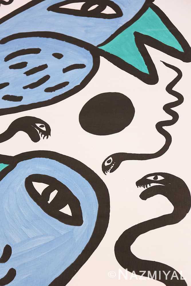 Snake detail Vintage Swedish tapestry rug 46828 by Nazmiyal