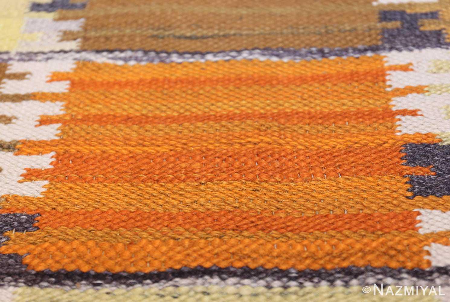 Vintage Scandinavian Rug by Wanda Krakow 46858 Orange Texture Nazmiyal