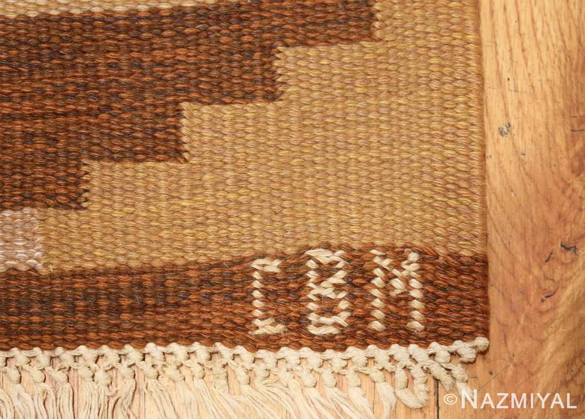 vintage swedish kilim 46864 initials Nazmiyal