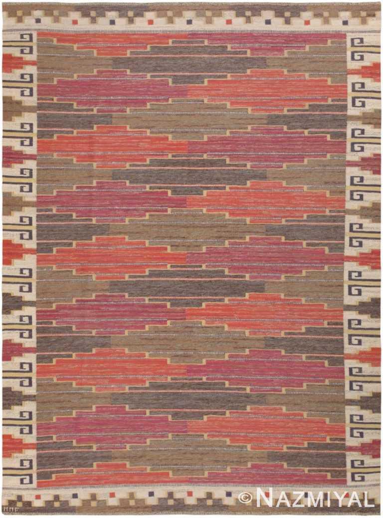 Vintage Swedish Bruna Heden Rug by Marta Maas Fjetterstrom MMF 46893 Nazmiyal