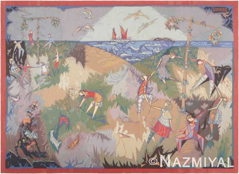 Vintage French Lars Gynning Mid Summer Dance Tapestry 46889 from Nazmiyal Antique Rugs in NYC