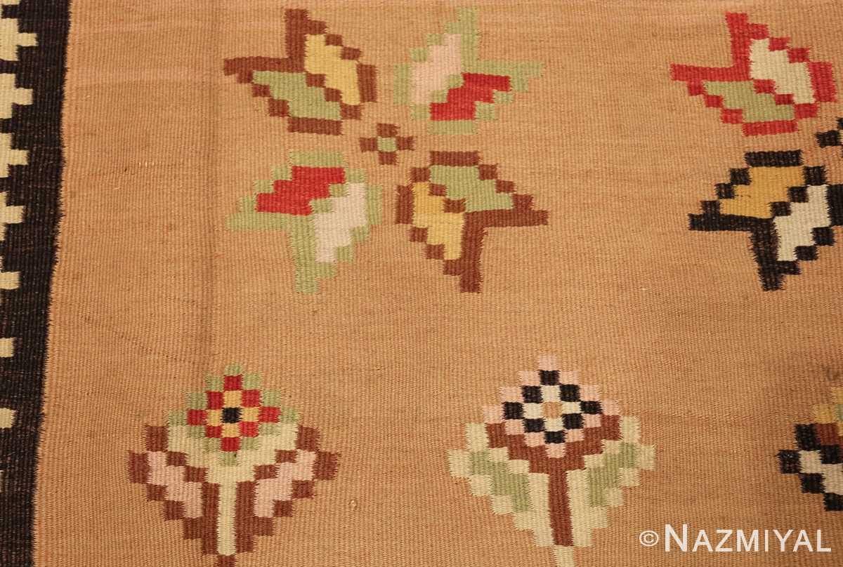 antique romanian bessarabian kilim 46925 flowers Nazmiyal