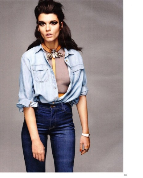 1990s Womens Fashion - Denim Shirt and High-Waisted Jean by Nazmiyal
