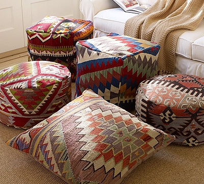 Vintage Kilim Pillows and Poufs