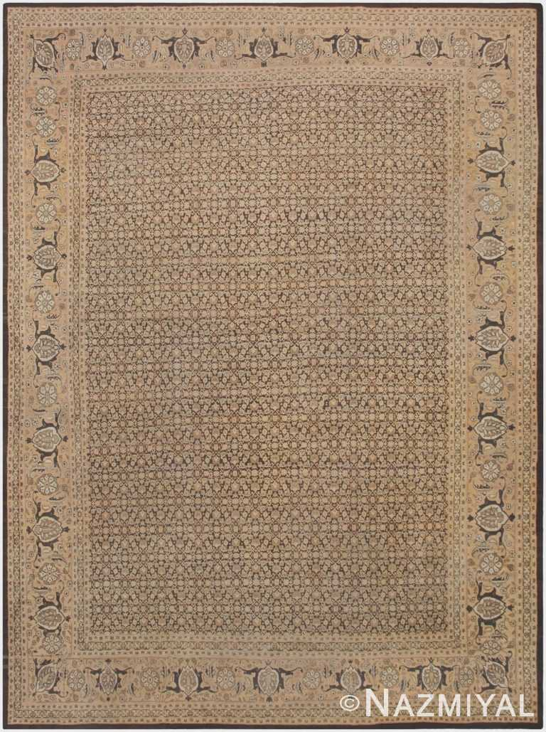 Large Antique Brown Background Persian Tabriz Area Rug 46808 by Nazmiyal Antique Rugs