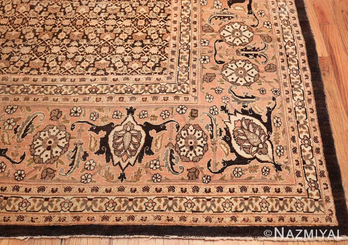 antique rare brown background persian tabriz rug 46808 corner Nazmiyal