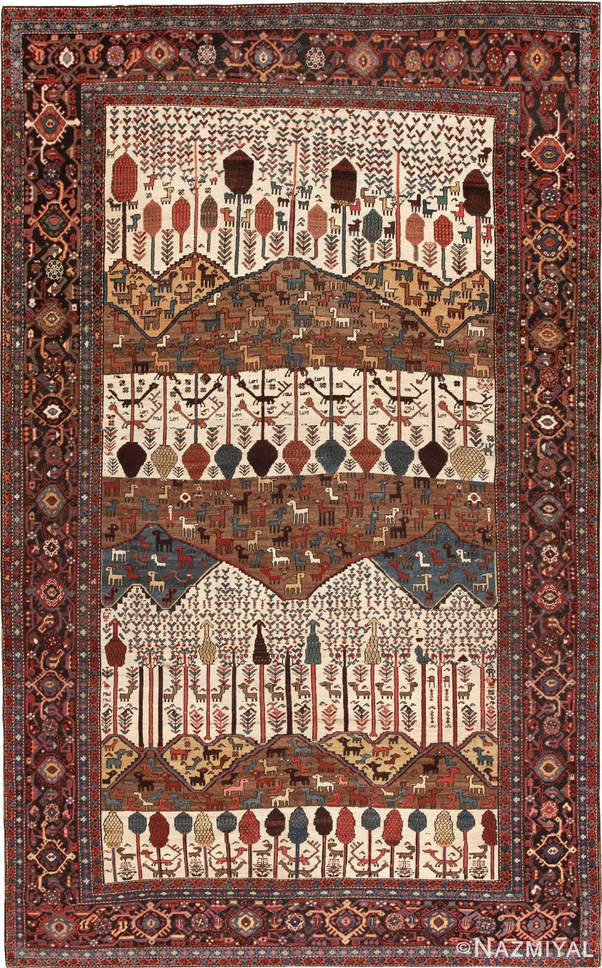 Antique Persian Bakshaish Rug 46231 Nazmiyal