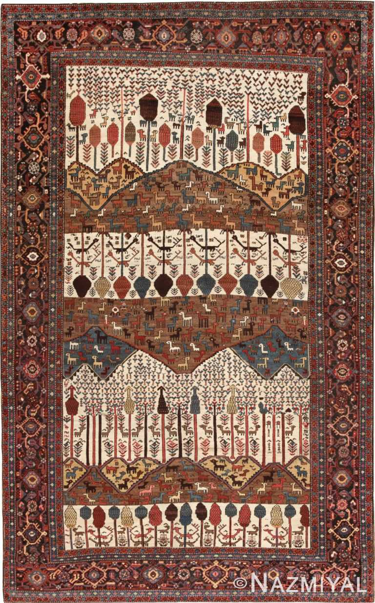Antique Persian Bakshaish Rug 46231 Nazmiyal