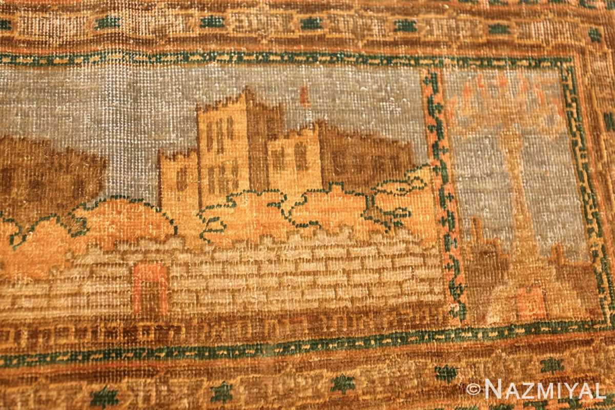 antique silk bezalel rug from jerusalem israel 46984 castle Nazmiyal