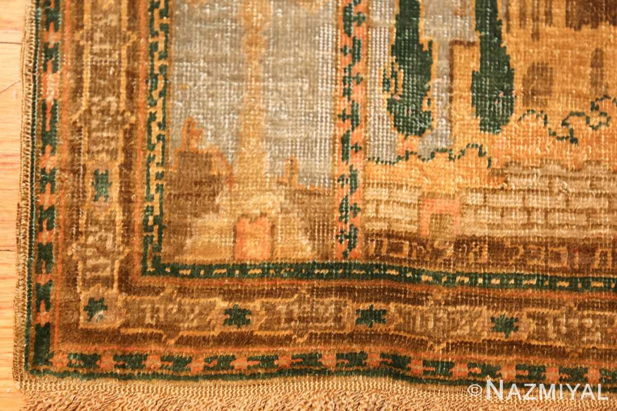 antique silk bezalel rug from jerusalem israel 46984 corner Nazmiyal
