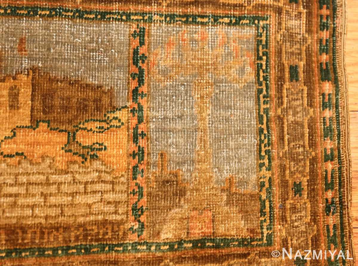 antique silk bezalel rug from jerusalem israel 46984 tower Nazmiyal