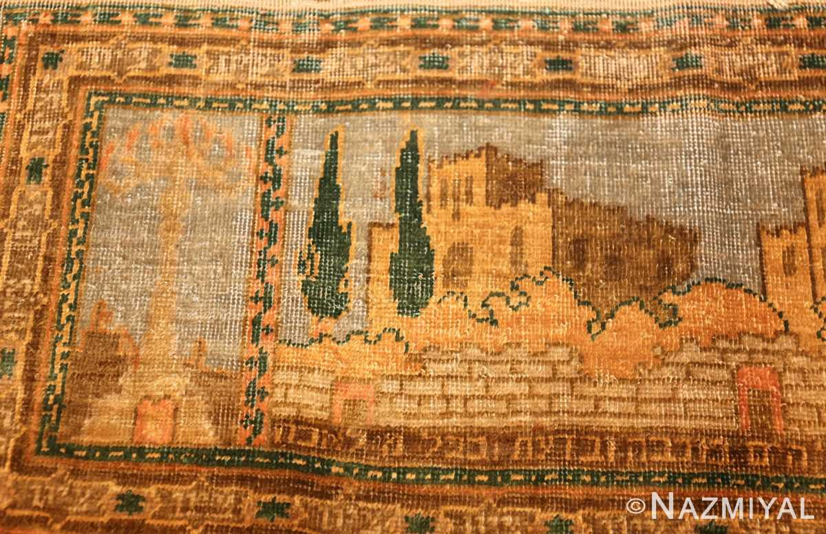 antique silk bezalel rug from jerusalem israel 46984 trees Nazmiyal