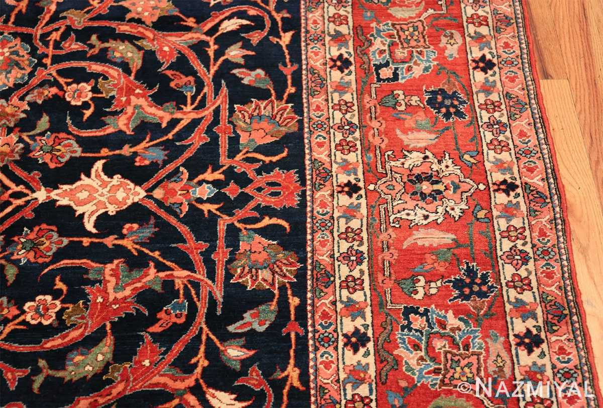 vintage navy color persian bidjar rug 46734 border Nazmiyal