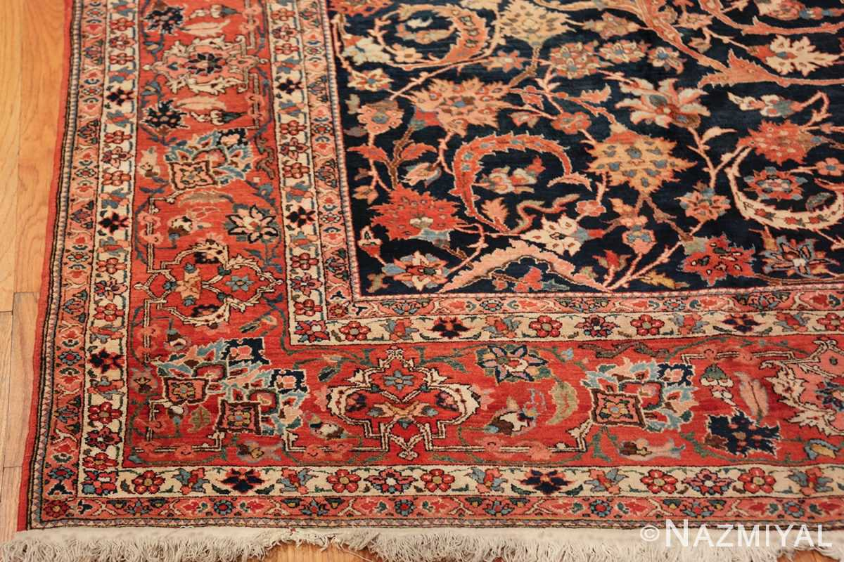 vintage navy color persian bidjar rug 46734 corner Nazmiyal