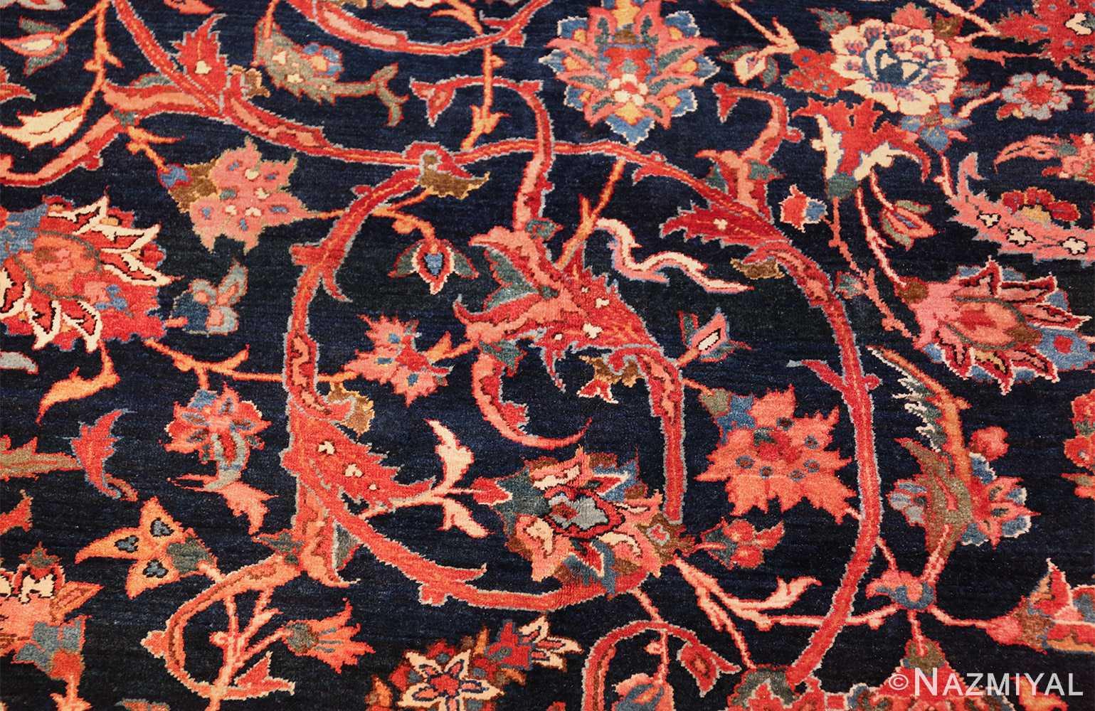 vintage navy color persian bidjar rug 46734 scroll Nazmiyal