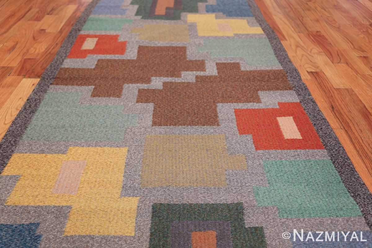 Vintage Scandinavian Swedish Runner Rug 47028 Field Design Nazmiyal