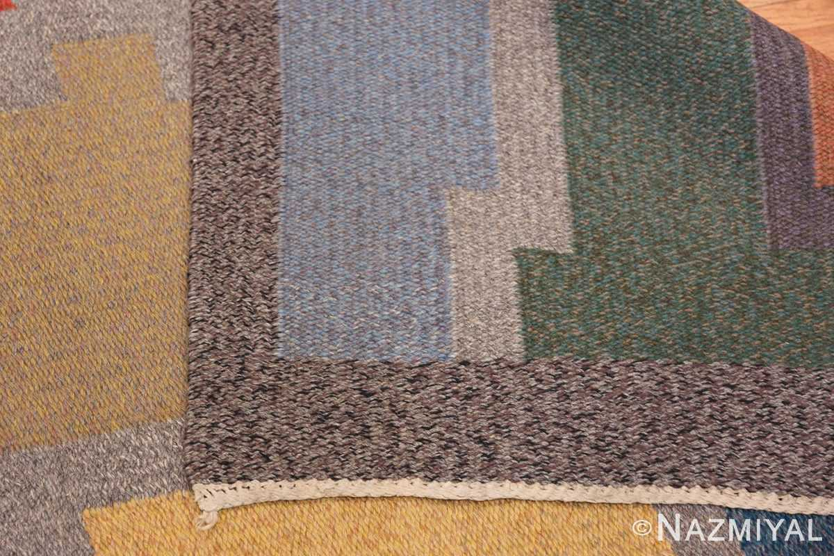 Vintage Scandinavian Swedish Runner Rug 47028 Woven Knots Nazmiyal