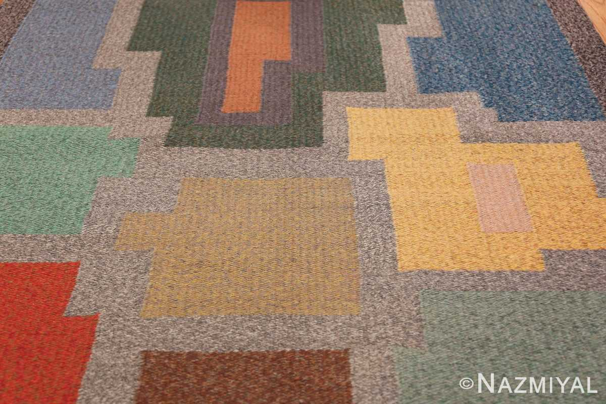 Vintage Scandinavian Swedish Runner Rug 47028 Yellow Cubes Nazmiyal