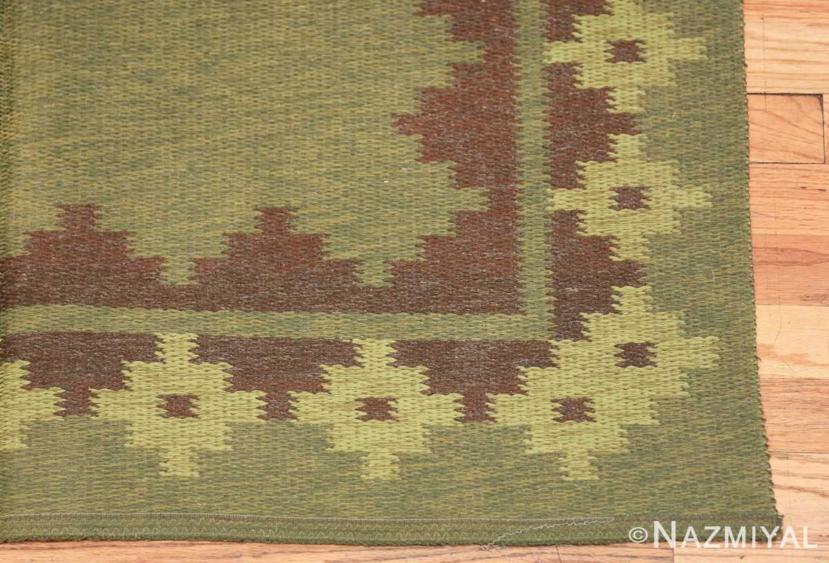Vintage Scandinavian Swedish Rug 47005 Dark Green Corner Nazmiyal