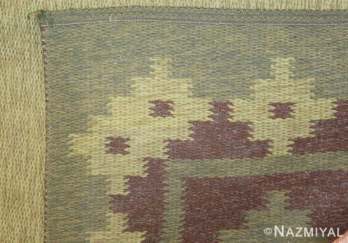 Vintage Scandinavian Swedish Rug 47005 Dark Green Knots Nazmiyal