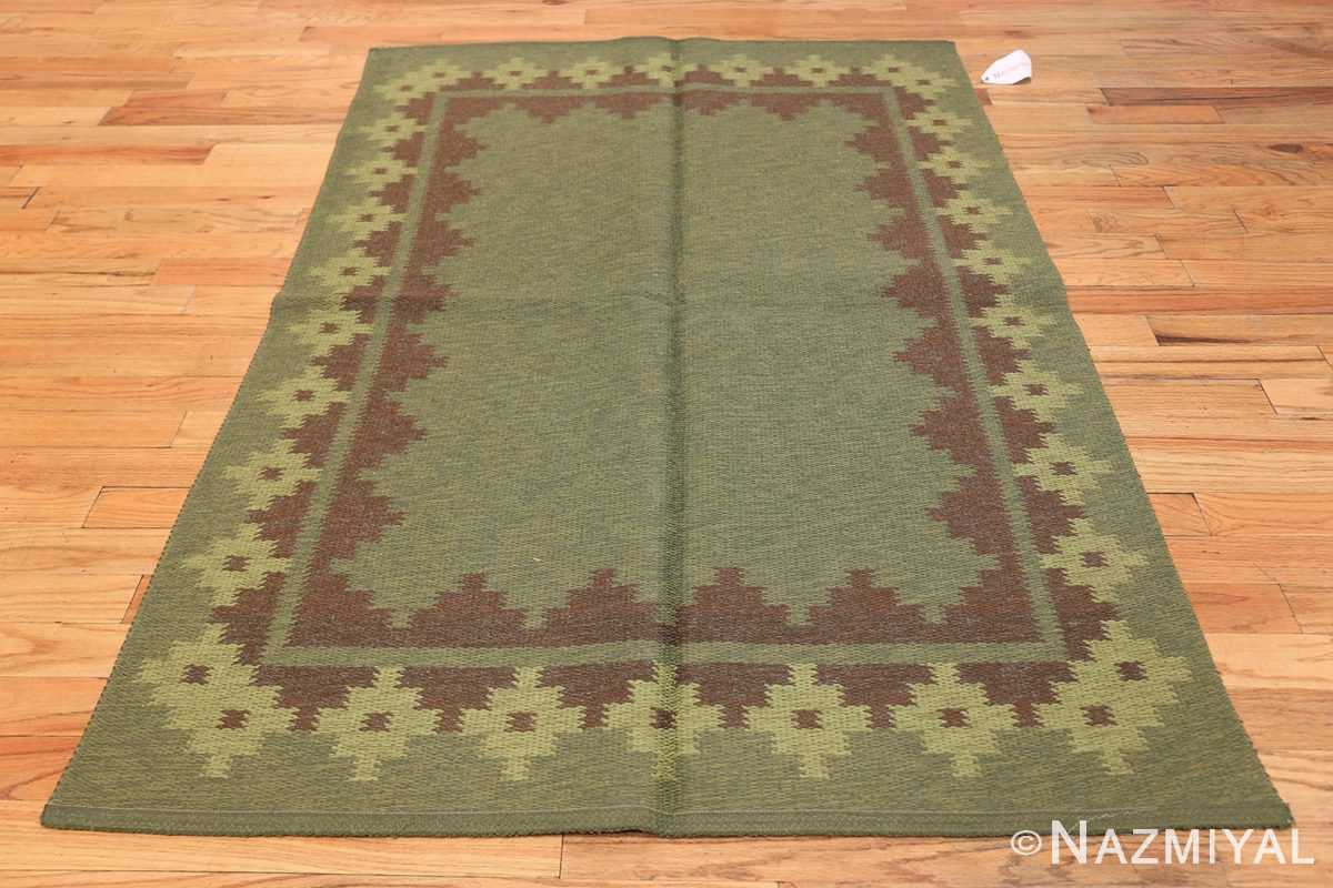 Vintage Scandinavian Swedish Rug 47005 Dark Green Side Nazmiyal