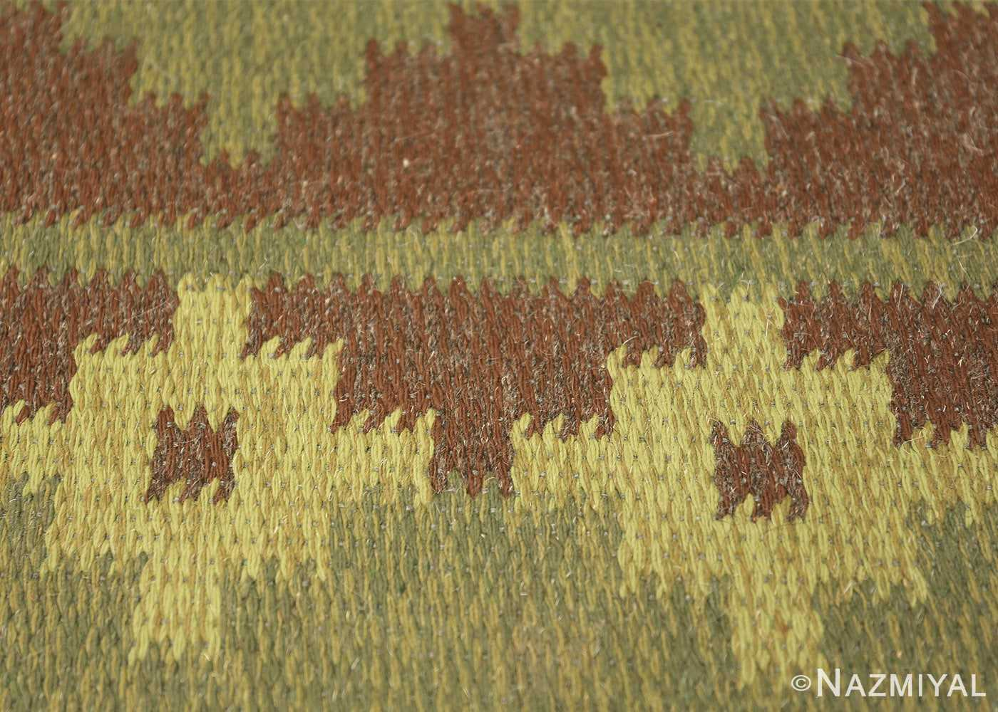 Vintage Scandinavian Swedish Rug 47005 Green Texture Nazmiyal