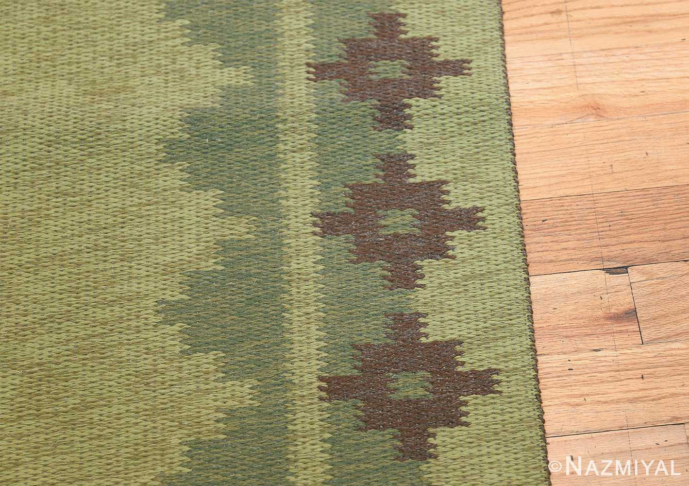 Vintage Scandinavian Swedish Rug 47005 Light Green Border Nazmiyal