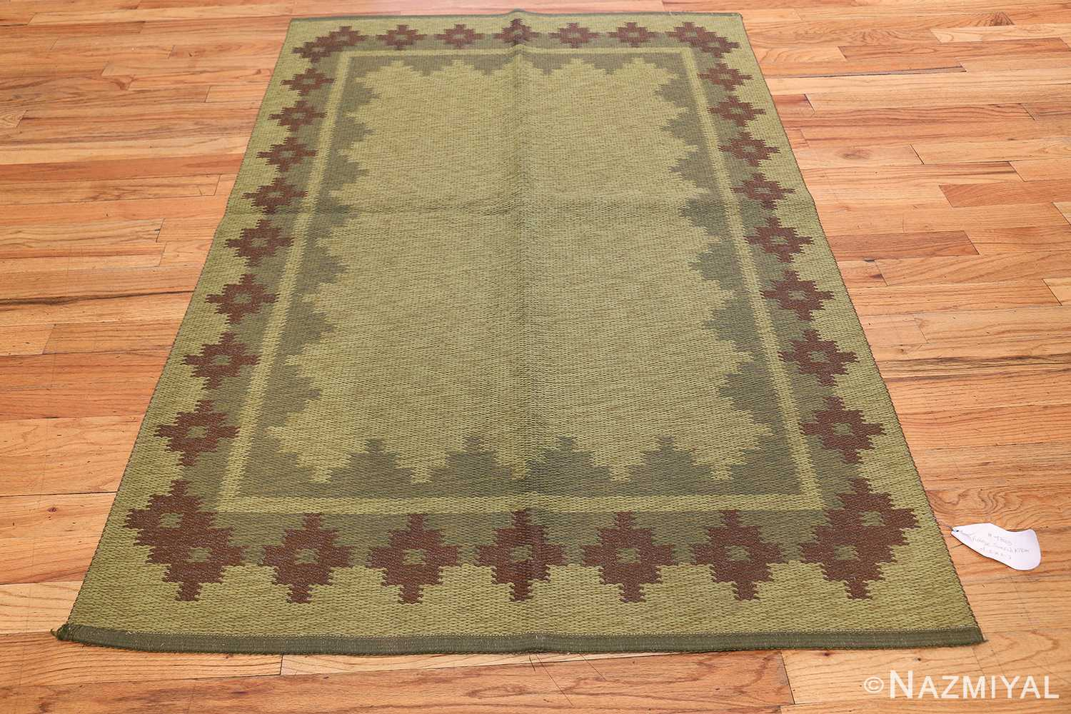 Vintage Scandinavian Swedish Rug 47005 Light Green Side Nazmiyal