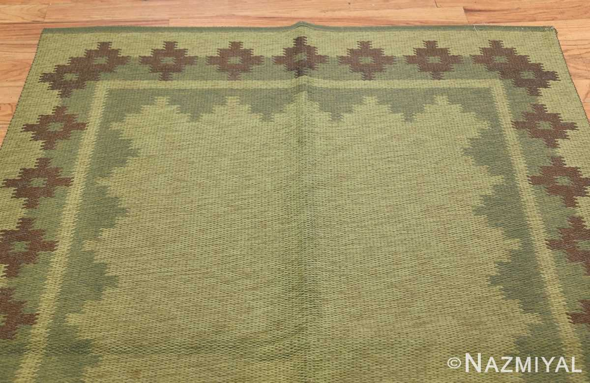 Vintage Scandinavian Swedish Rug 47005 Light Green Top Nazmiyal