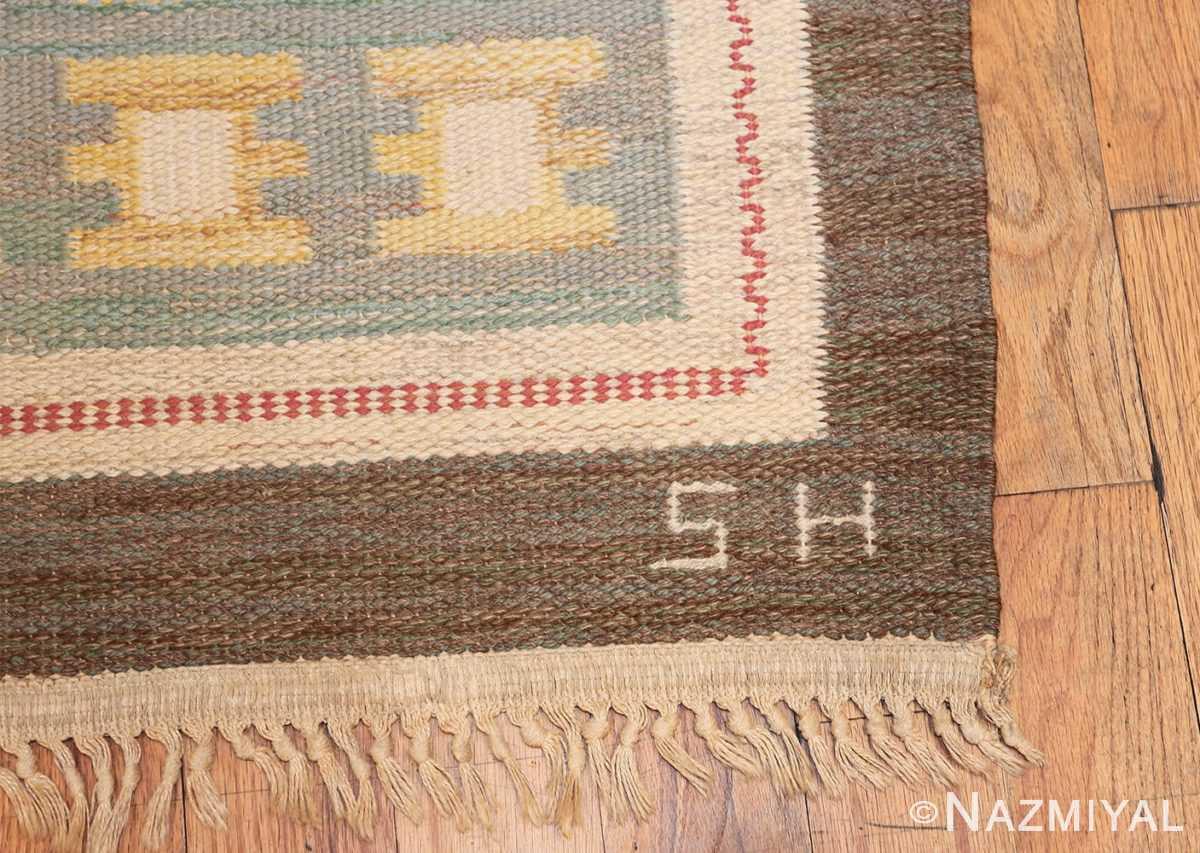 vintage scandinavian swedish rug 47006 initials Nazmiyal