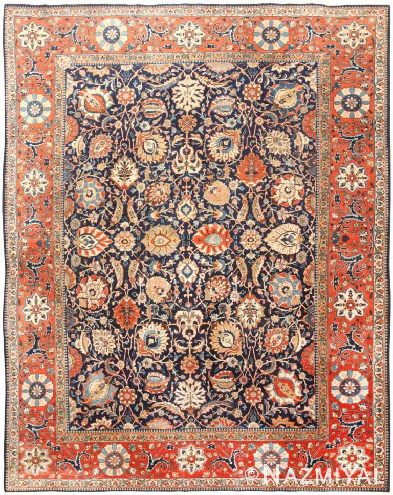 Blue Antique Room Size Persian Vase Design Tabriz Rug #47064 by Nazmiyal Antique Rugs