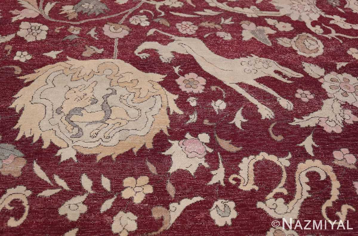 Antique Turkish Hereke Rug 45620 Blue Snake Nazmiyal