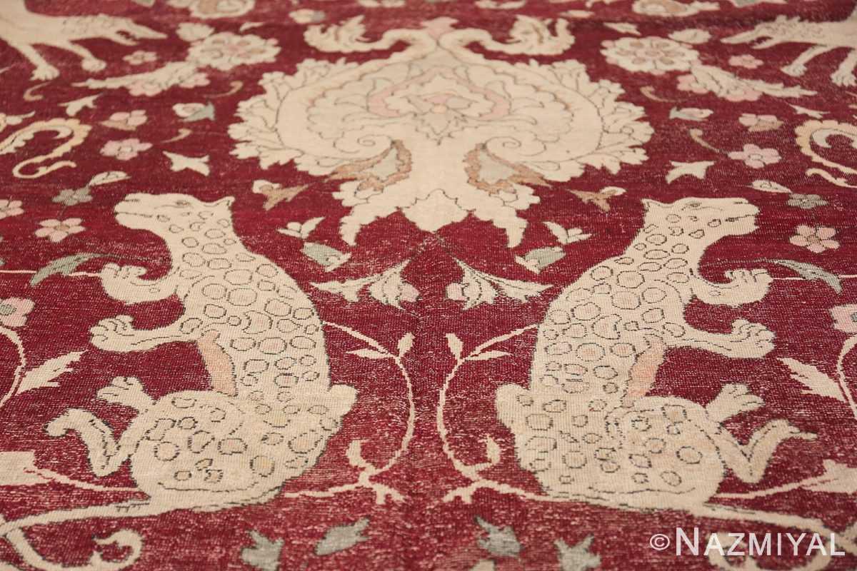 Antique Turkish Hereke Rug 45620 Guardian Tiger Nazmiyal