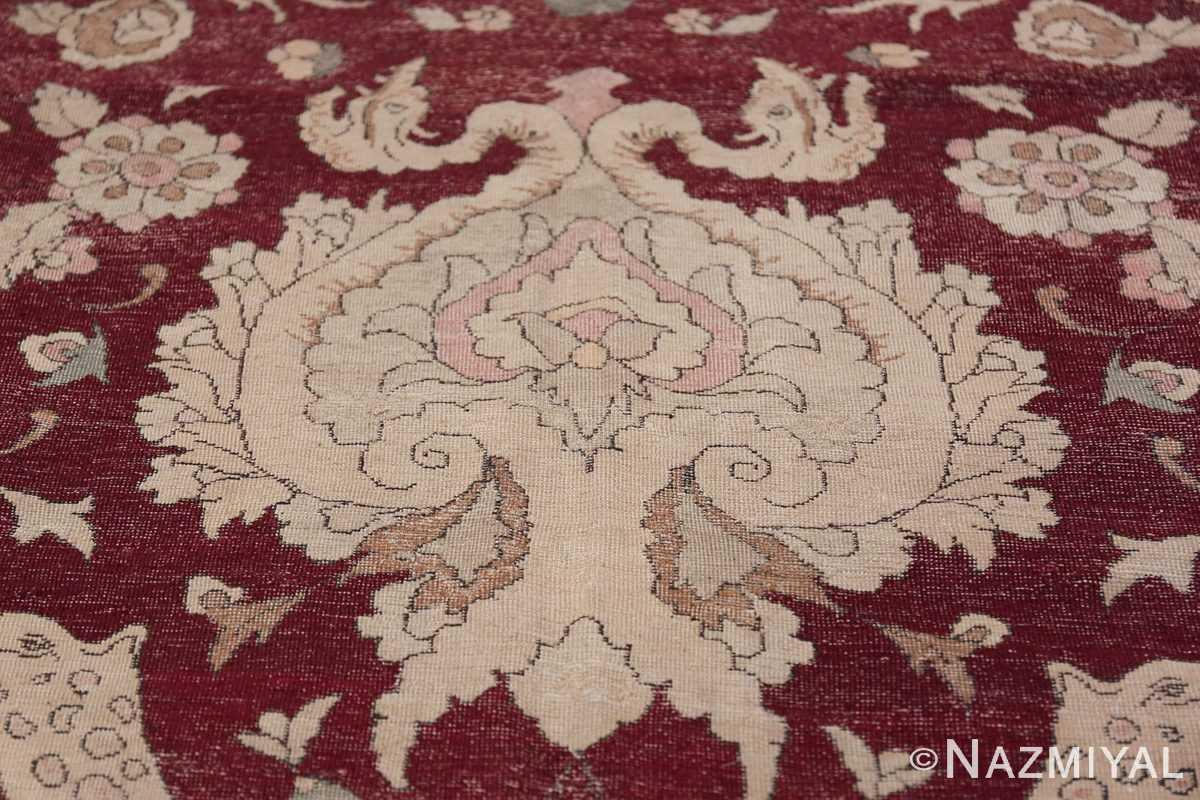 Antique Turkish Hereke Rug 45620 Ivory Shape Nazmiyal