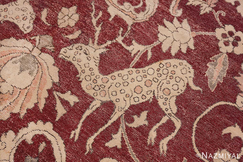 Antique Turkish Hereke Rug 45620 Jumping Deer Nazmiyal