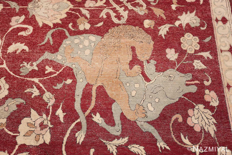 Antique Turkish Hereke Rug 45620 Lion Hunting Nazmiyal