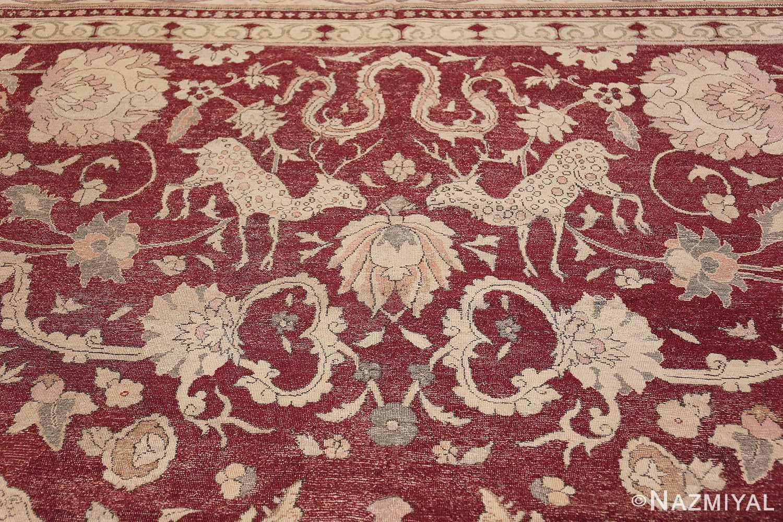 Antique Turkish Hereke Rug 45620 Polka Dotted Deer Nazmiyal
