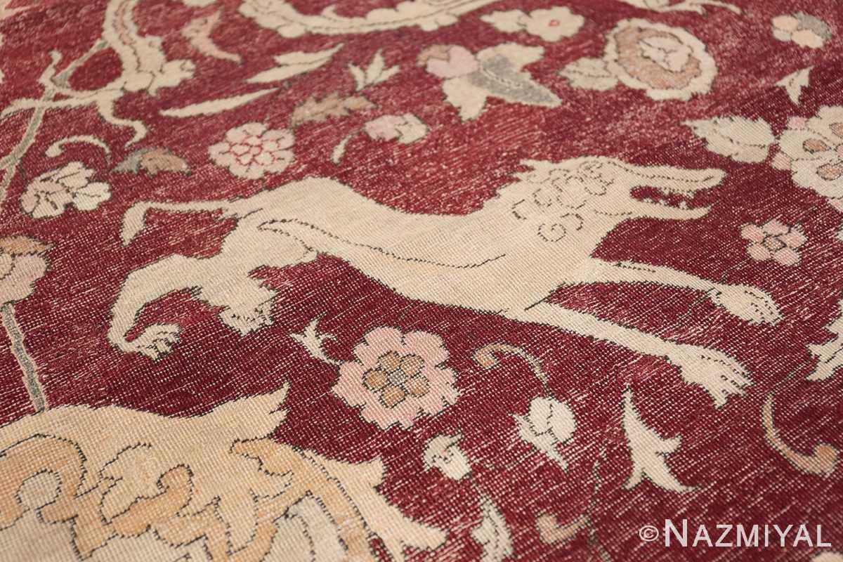 Antique Turkish Hereke Rug 45620 Running Jackal Nazmiyal