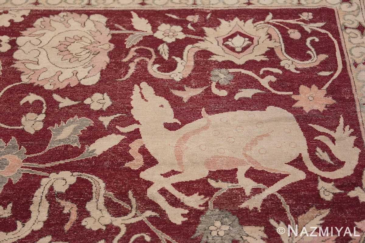 Antique Turkish Hereke Rug 45620 Sitting Gazal Nazmiyal
